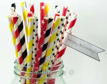 MICKEY MOUSE Disney Inspired Striped, Polka Dots Combo Paper Straws with Free Printable DIY Flags (25 count)