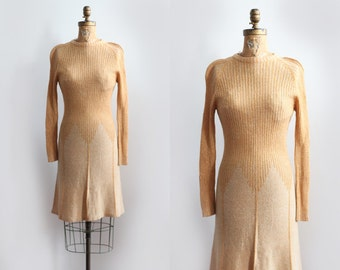 Sunburst Dress / 1970s knit dress / vintage dress