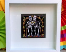 Gay Marriage Wedding Gift, Framed Day of the Dead Talavera Tile with Two Grooms