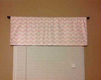 Handmade Curtain/Valance Baby Pink/White/Gold Chevron, Zigzag, Nursery, Girls Room, Home Decor