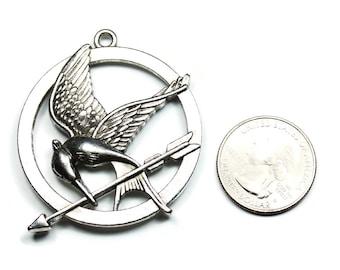 3 Antique Silver Bird Arrow Circle Pendants