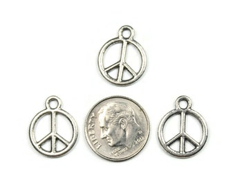 Antique Silver Peace Sign Charms 20 QTY