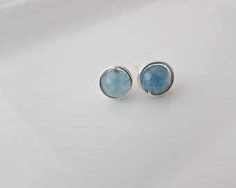Aquamarine Earrings, Silver Aquamarine Earrings, Silver Earrings, Girl Gift, Bridesmaid Gifts, March Birthstone Jewelry, Mom Gift, UK Seller