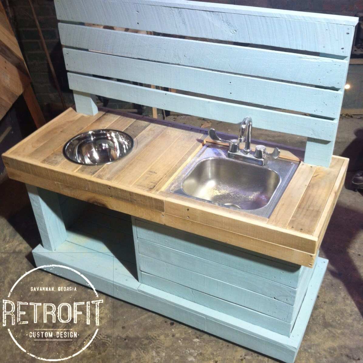 Kids Mud Kitchen With Hose Connect By RetroFitCustomDesign