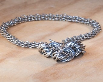 Chainmaille Necklace, Chainmail Necklace, Chain mail necklace, Steel Necklace, Heavyweight Necklace, Medieval Necklace, Tribal Necklace