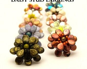 Daisy Stud Earrings - PDF beading pattern - Instant Download