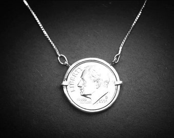 Coin jewelry, Coin Pendant, Dime coin jewelry for ladies.