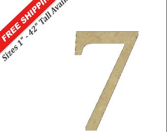 "Unfinished Wooden Number ""7"" in the CAMBRIA Font Style"