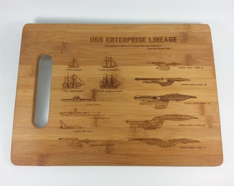 Star Trek Art Cutting Board , Science Art Engraved Bamboo Cutting Board Large Size