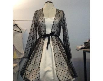 Polka dot mesh robe see through lingerie
