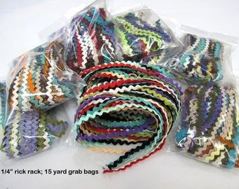 """Grab Bags 1/4"""", 3/8"""", 1/2"""", 5/8""""  Rick Rack, Ric Rac Trim Any Color, for Baby, Crafts, Sewing, Trims, Scrapbooking, Costumes"""