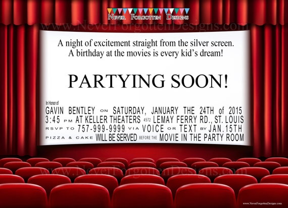 Movie Theater Birthday Party Invitations for a Night at the Movies