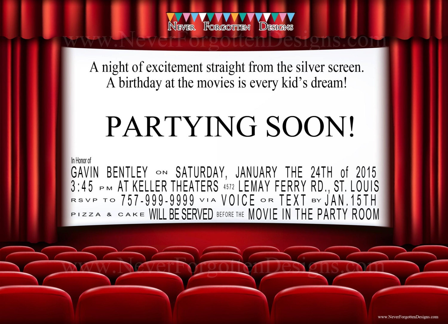 Movie Theater Birthday Party Invitations For A Night At The