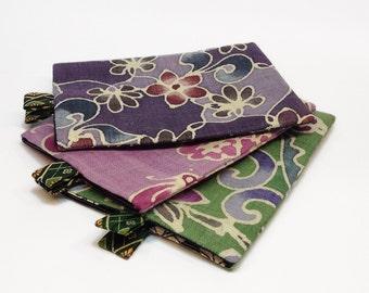 iPad padded slipcover. Tablet or laptop sleeve. Vintage Japanese floral print Hemp. Pink, purple, or green.