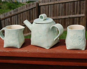 Handcrafted Porcelain Celadon Tea Set