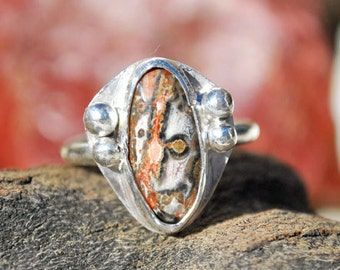 Leopard Skin Jasper Ring - Jasper Ring - Leopard Skin Jasper - Jasper - Sterling Silver Ring - Size 9.25 Ring - Artisan Jewelry