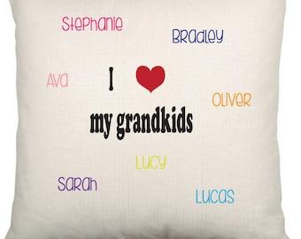 Personalised Grandchildren Tree Cushion Cover