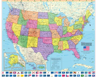 UNITED STATES Wall Map USA Poster X Or - Large us wall map