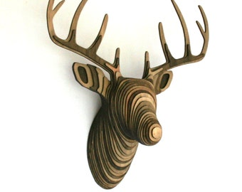 Wood Deer Head - Mixed Walnut - Faux Taxidermy