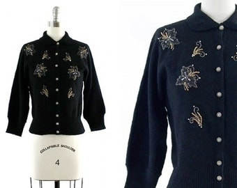 vintage black beaded cardigan / retro black cardigan / beaded sweater / wool chenille sweater S
