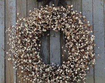 Ivory Pip Berry Wreath--Ivory Mixed Berry Wreath--Pip Berry Wreath--Grapevine Berry Wreath--Cream Berry Wreath--Primitive Wreath