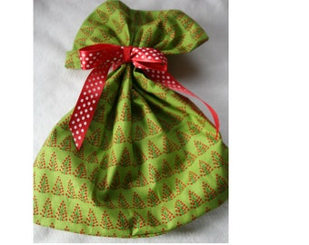 Polka Dot Christmas Tree Cotton Gift Bag with Red Polka Dot Ribbon