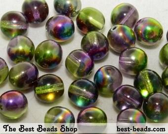 30pcs Magic Green Round Czech Glass Pressed Beads 8mm