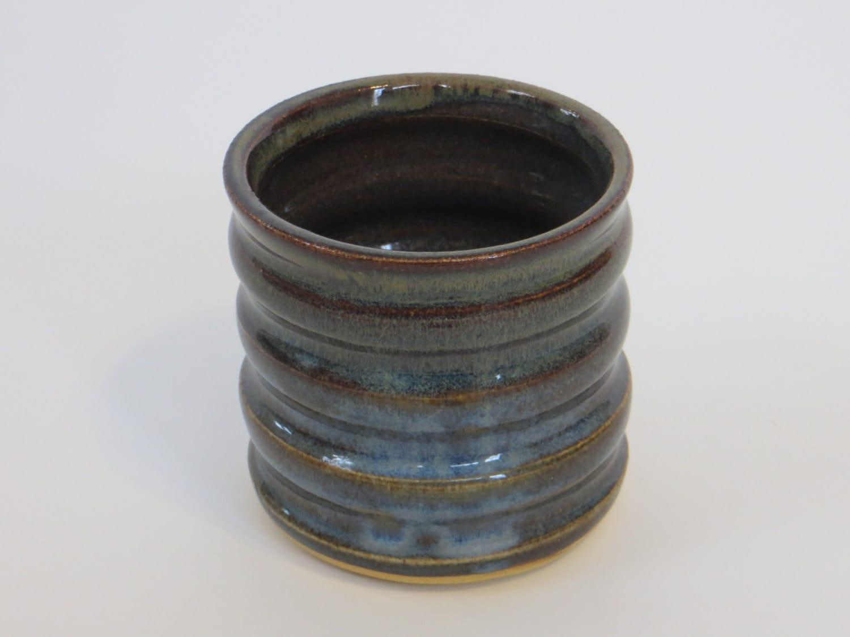 Handleless cylinder mug blue and brown by turningtruestudios - Handleless coffee mugs ...