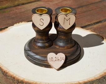 rustic unity candle holders , farm wedding unity candle set, shabby chic wedding decor, set of 3
