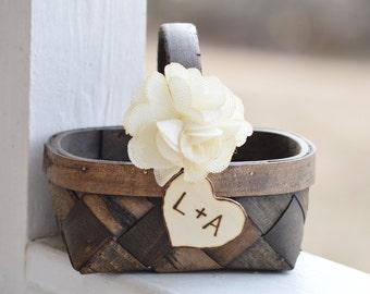 Shabby chic wedding flower girl basket, burlap flower girl basket, woodland wedding, rustic wedding B101