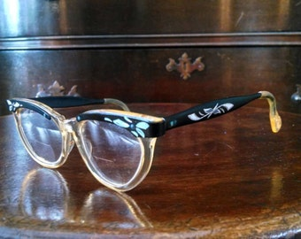 Vintage Black Horn Rimmed Glasses, rockabilly