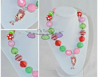 Rhinestone Strawberry Shortcake Childrens Chunky Necklace Pink Red Lime Chunky Necklace Chunky Bead Necklace Girls Necklace Pearl Beads