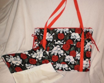 skulls and roses diaper bag with matching changing pad
