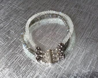 Labradorite Moonstone Aquamarine Bracelet