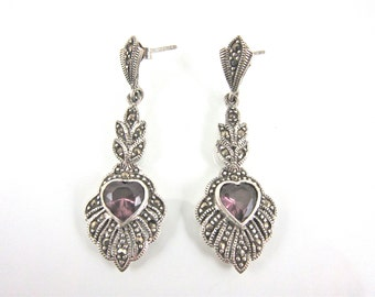 Vintage Marcasite, 925 Sterling Silver And Amethyst Heart Post Earrings