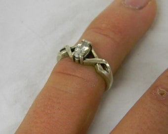 Sterling Silver 925 Marquise Clear Glass CZ Pleasant Size 6 1/2 #5727