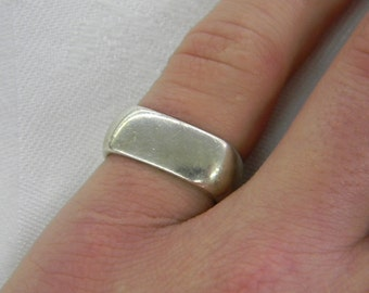 Sterling Silver 925 Beautiful Unique Square Ring Size 8 1/4 #6060