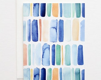 Vertical Stripes in Blue- A2 Greeting Card