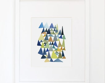 Forest of Triangles- Watercolor Archival Print