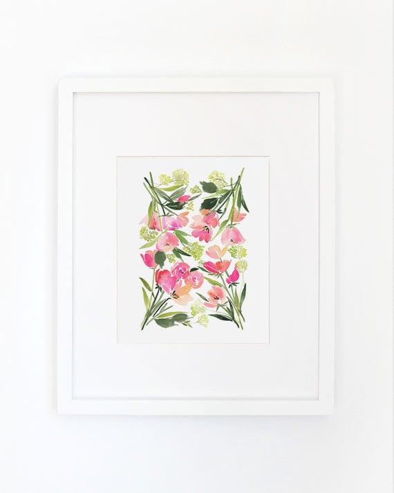 Spring Flora in Pink- Watercolor Art Print