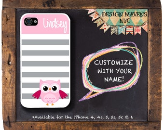 Cute Owl iPhone Case, Monogrammed iPhone Case, Tween Phone Case, iPhone 4,  iPhone 5,  5s, 5c, iPhone 6, 6s,6 Plus, Phone Cover