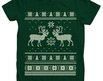 Ugly Sweater Christmas Women Tshirt Custom Hand Screen Print American Apparel Crew Neck