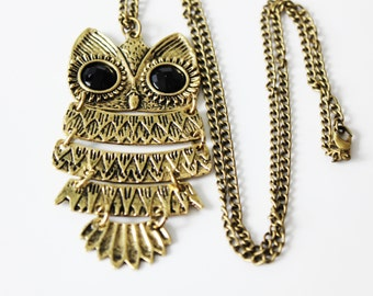 OWL Jewelry OWL Necklace Pendant Gold Dangle Charm Gift for her