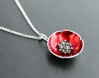 Girlfriend gift, red jewelry, sterling silver poppy pendant, flower necklace, enamel jewelry, enamel pendant, red necklace, gift for women