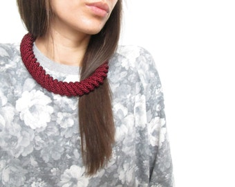 Burgundy rope necklace Burgundy statement necklace Knot Rope Necklace