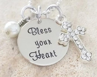 Hand Stamped - Jewelry - Necklace - Bless your Heart - Cross - Gift - Gift for Her - Pearl - Southern - Southern Quote - Southern Girl