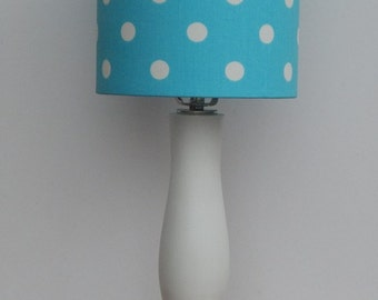 Handmade Small Girly Blue/Turquoise with White Polka Dot Drum Lamp Shade - Great for Nursery or Kid's Room