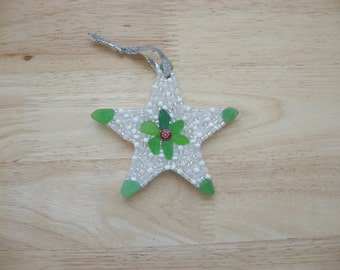 Seaglass Star Ornament with Sparkly Beads Red Millefiore mosaic Holiday gift