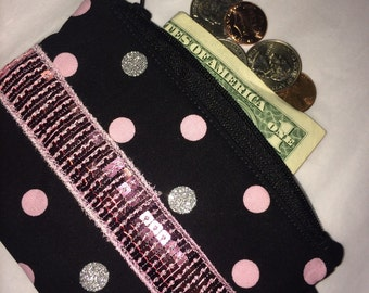 Pink Sequin Polka Dot Coin Purse