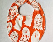 Halloween Baby Bib - Orange and White Ghosts - Spooktacular Too